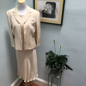 Casual Corner Silk Dress with Matching Jacket